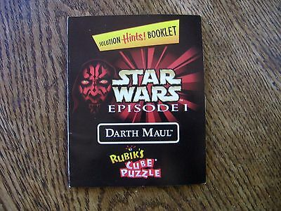 Star Wars Darth Maul Rubik's Cube Solution Hints Booklet ONLY
