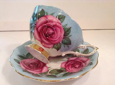Huge Three Cabbage Roses On Blue Background Tea Cup And Saucer Royal Standard