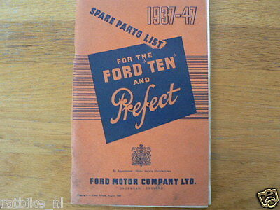 Ford Ten And Prefect 1937-1947 Spare Parts List