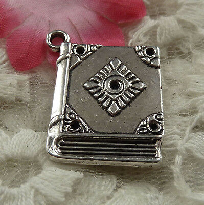 free ship 22 pieces Antique silver book charms 26x21mm #4202