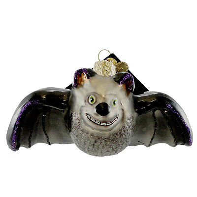 Batty Bat Old World Halloween Hanging Ornament NWT mouth blown glass spooky