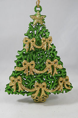 Green Glittered Tree with Gold Bows Christmas Tree Ornament new holiday