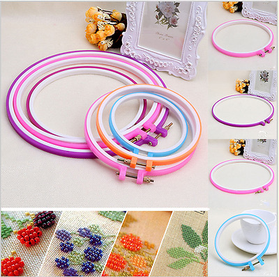 13-28cm Plastic Colorful Cross Stitch Machine Adjustable Embroidery Hoop Ring