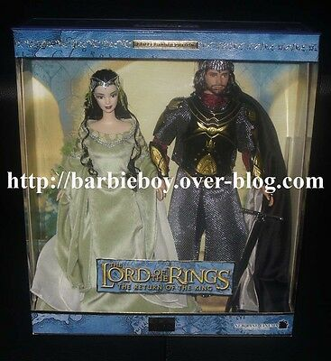 Barbie Ken as Arwen and Aragorn in The Lord of the Rings NRFB