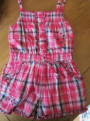 Playsuit Girls, Pink Checked Cotton, Matalan, 12-18 months, Embroidered floral