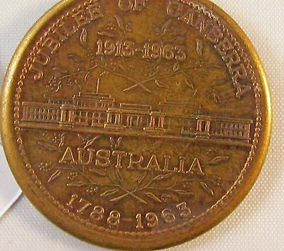 VERY FINE JUBILEE OF CANBERRA 30mm MEDAL 1913 to 1963 WITH RIBBON