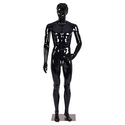Male Mannequin Full Body Dress Form Display Plastic High Gloss Black w/ Base New