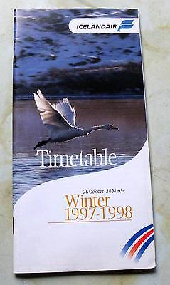 Icelandair Winter Timetable, 26 October - 28 March 1997 -1998.