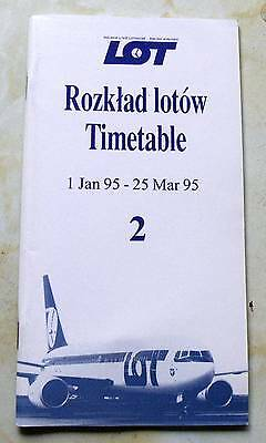 LOT Polish Airlines Timetable 1 Jan 1995 - 25 Mar 1995.