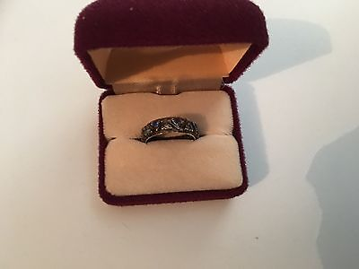 9ct Gold& Silver Ring With Diamond/sapphire