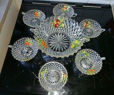 vintage retro glass punch bowl set with fruit print 6 x cups
