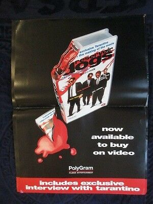 Resevoir Dogs  Genuine Video Release Promo Only Poster Quad Fold 56X44 Cm Approx