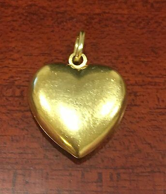 Large 9ct Yellow Gold Puffed Heart Pendant Ideal for Necklace 1.57 grams 2cm