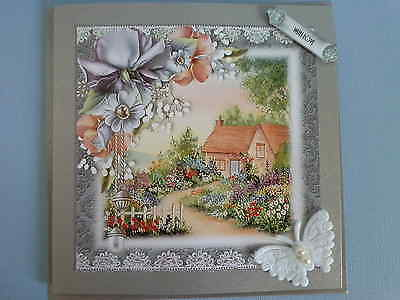 BIRTHDAY-ANY OCCASION-Summer cottage with flowers~WITH LOVE~Handmade card 3D~