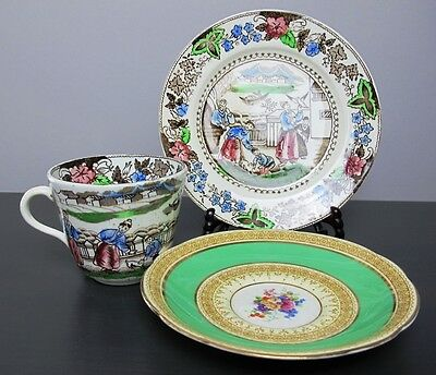 Stunning vintage mismatched china TEA TRIO: CUP SAUCER & SIDE PLATE Transferware
