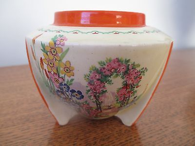 Clarice Cliff / A J Wilkinson - Bomb-Shaped Preserve / Jam Pot Floral Archway