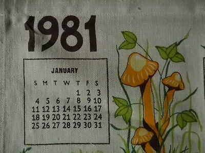Collectible Linen Wall Hanging 1981 Calendar with Mushroom Decor & Hanging Stick