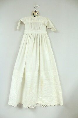 """Extra Long Antique Christening Gown 40"""" White Work Pin Tucks Peg Hanger 16"""" Ches"""