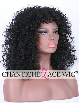 Women's Highlights Curly Wig Natural Black Synthetic Full Hair Wigs Heat Safe UK