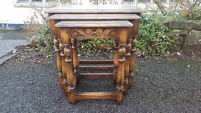 A Stunning & Very Fine Quality Set of Solid Oak Carved Nest of Three Tables