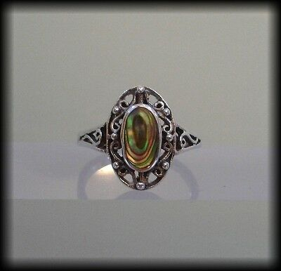 Vintage 925 Solid Sterling Silver and Abalone Shell Ring
