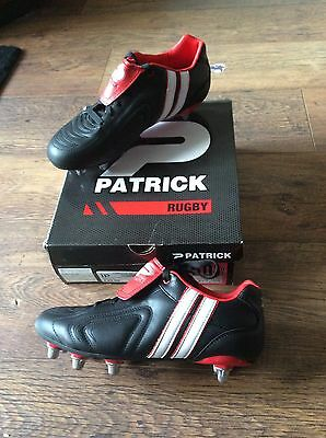 Patrick Rugby Boots - Junior Size 6.5 - Black / White