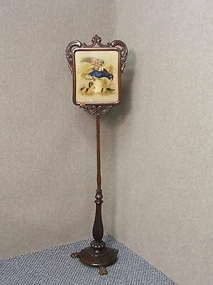 Antique /   Mahogany  Pole Screen / With Parrots Embroidery / Three Claw Feet