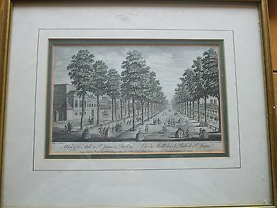 Antique Print St James Park Dated 1753 View Of The Mall London Engraving Framed