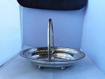 SILVER PLATED BOWL/BASKET-27.5cms long,20cms wide&17cms high with handle up
