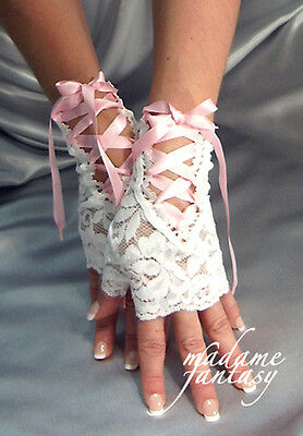 Madame Fantasy Sexy New Lace Up Tie Fingerless Gloves - White & Baby Pink Ribbon