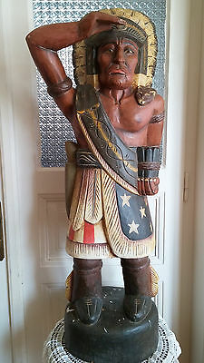Vintage Cigar Store Carved Figure of a Native Wooden American Indian