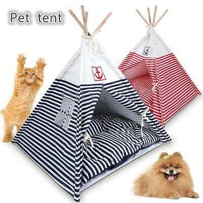 Pet Kennel Navy Striped Teepee Tent Cat Dog Bed Puppy Kitten Playing House Pad