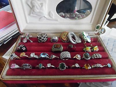 9 sterling and costume rings sizes 5-10