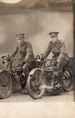 WW1 Army Service Corps Despatch Riders ASC Soldiers Motorcycle RP Postcard