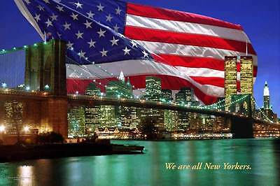 We are all New Yorkers Twin Towers poster by Blaine Brooke 24x36