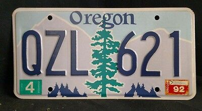 1992 Oregon License Plate