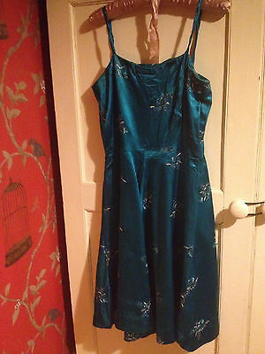 Vintage handmade 50s dress teal and silver satin medium 12 - 14