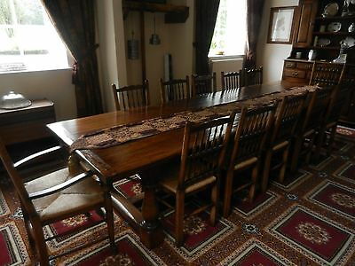 Solid Oak Bespoke 12ft Refectory Dining Table