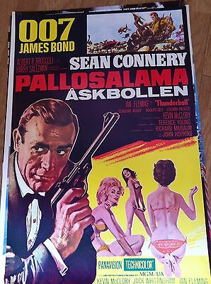"1965 James Bond 007 ""thunderball "" Re-Released Poster Finland Issue"