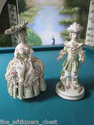 Cordey mid century porcelain couple figurines, lady in a frilly ballgown