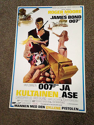 "1974 James Bond 007 ""the Man With The Golden Gun"" Original Poster Finland Issue"