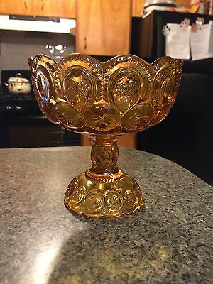 Vintage L E Smith Large Footed Amber Compote Candy Dish