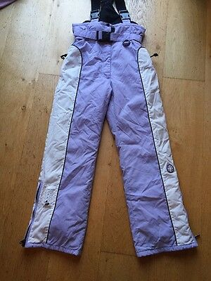 Girls Lilac And White Ski Trousers  - Age 11-12