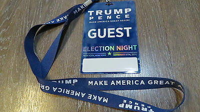 DONALD TRUMP Historical Election Night Victory Party 11/08/16 GUEST PASS Lanyard