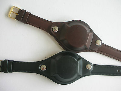 Italian Leather Military Style Watch Strap With Cover