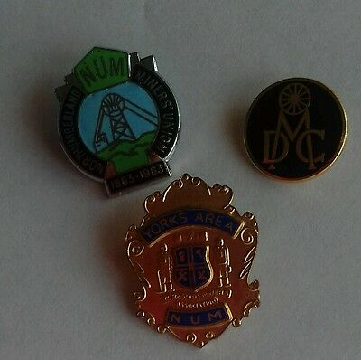 Three Miners Trade Union Badges
