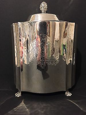 Large Crested Chinese Export Silver Biscuit Barrel/Cookie Jar  c1860
