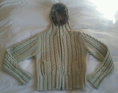 Chilli Pepper Hooded Cable Knit Chunky Cardigan Size 4 (UK 14)