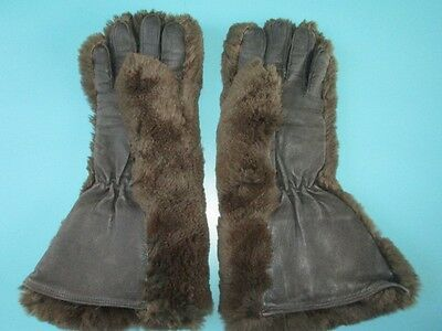 1940's  Brown leather and fur gloves