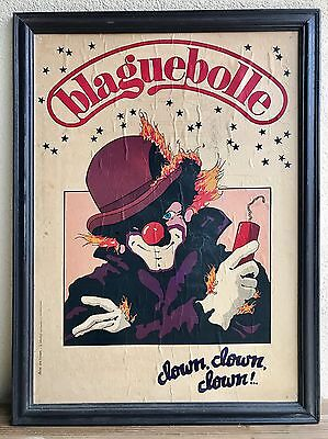 Ancienne Affiche De Cirque BLAGUEBOLLE clown Éric Travers La Lithotyp Marseille